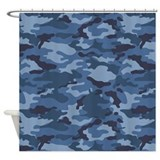 Blue camouflage Shower Curtains