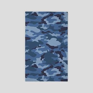 Blue Camo Pattern 3'x5' Area Rug