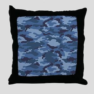 Blue Camo Pattern Throw Pillow