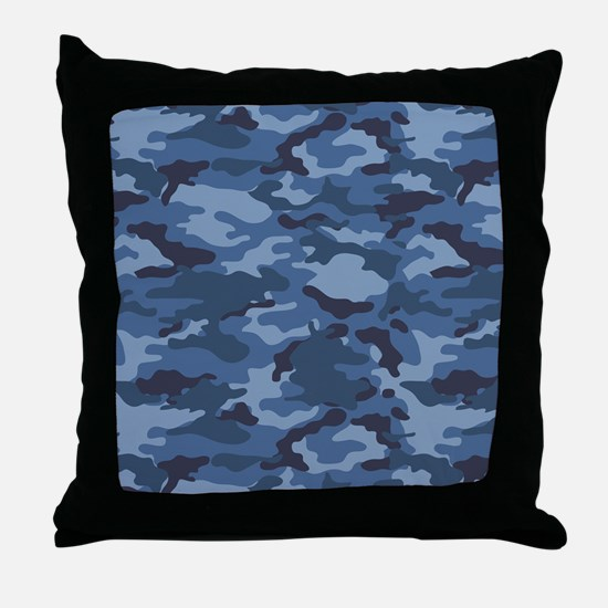 Blue Camo Pattern Throw Pillow