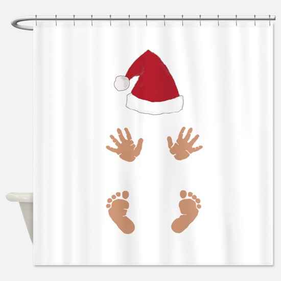 Baby Santas Hands and Feet Shower Curtain