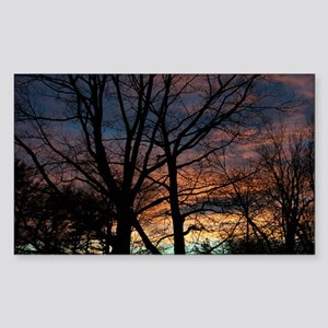 Winter Sunset in CT Rectangle Sticker