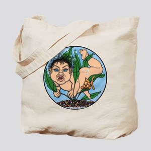 Black Haired Fishbowl Baby 3  Tote Bag