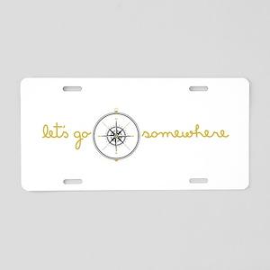 Go Somewhere Aluminum License Plate