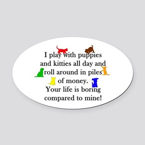 Veterinary Puppies and Kitties Oval Car Magnet
