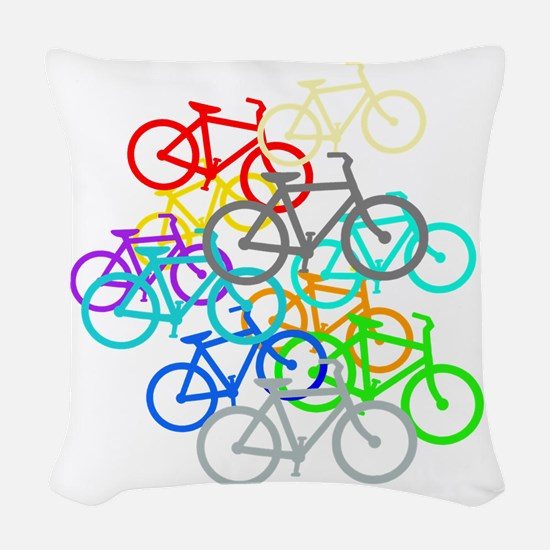 Bicycles Woven Throw Pillow