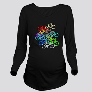 Bicycles Long Sleeve Maternity T-Shirt