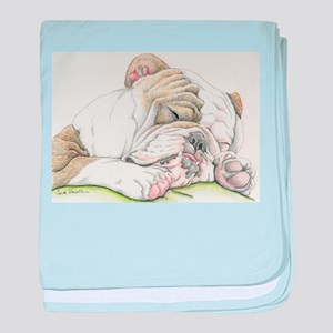 Sleepy English Bulldog baby blanket
