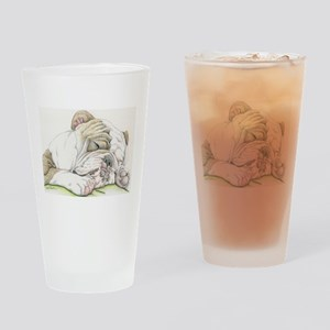 Sleepy English Bulldog Drinking Glass