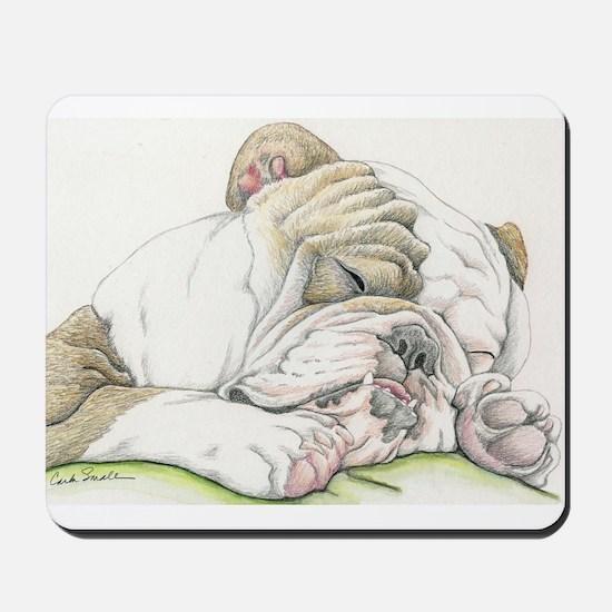Sleepy English Bulldog Mousepad
