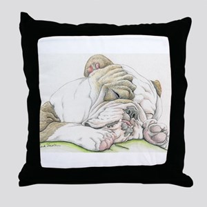 Sleepy English Bulldog Throw Pillow