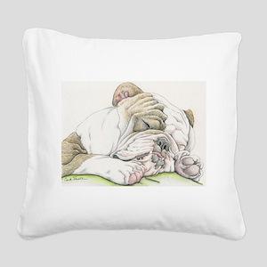Sleepy English Bulldog Square Canvas Pillow