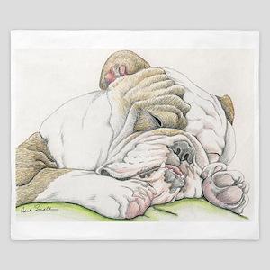 Sleepy English Bulldog King Duvet