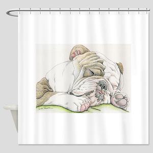 Sleepy English Bulldog Shower Curtain