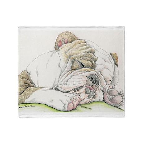 Sleepy English Bulldog Throw Blanket