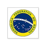 "Seal Of Brazil Square Sticker 3"" X 3"""