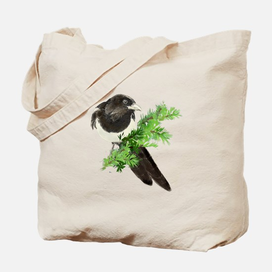 Watercolor Magpie Bird in Spruce Tree Tote Bag