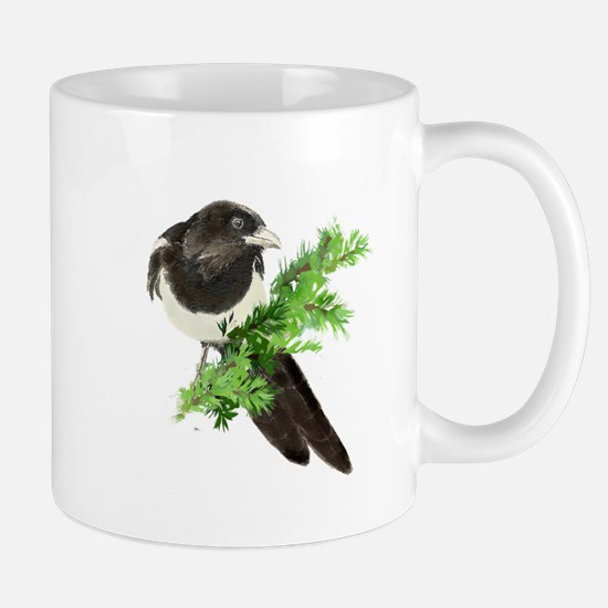 Watercolor Magpie Bird in Spruce Tree Mugs