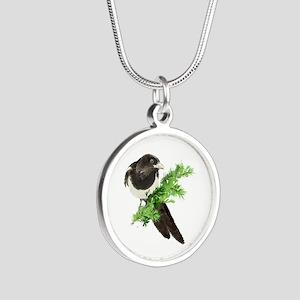 Watercolor Magpie Bird In Spruce Tree Necklaces
