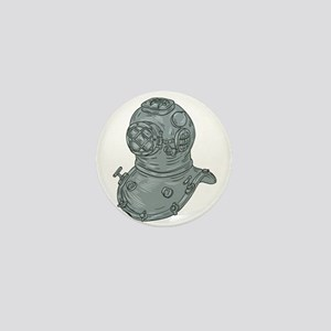 Old School Diving Helmet Drawing Mini Button