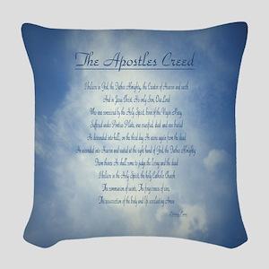 Apostles Creed Cyanotype Woven Throw Pillow