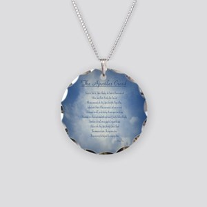 Apostles Creed Cyanotype Necklace Circle Charm