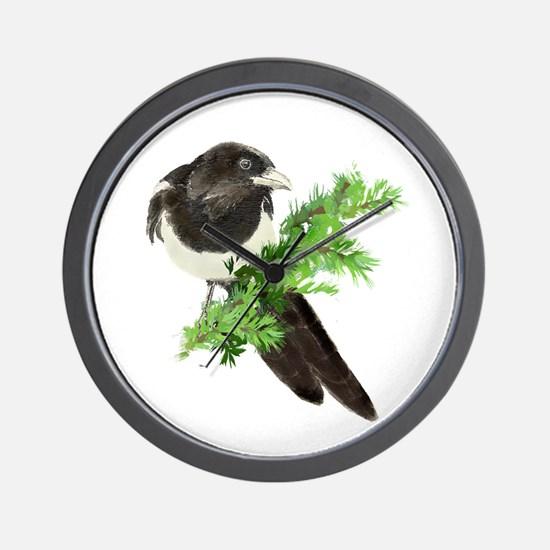 Watercolor Magpie Bird in Spruce Tree Wall Clock