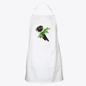 Watercolor Magpie Bird in Spruce Tree Apron