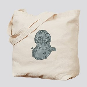 Old School Diving Helmet Drawing Tote Bag