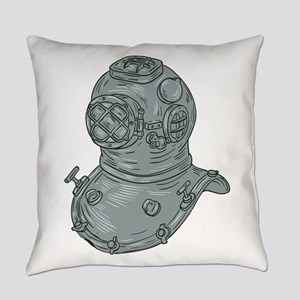 Old School Diving Helmet Drawing Everyday Pillow