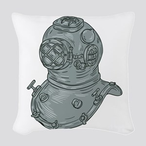 Old School Diving Helmet Drawing Woven Throw Pillo