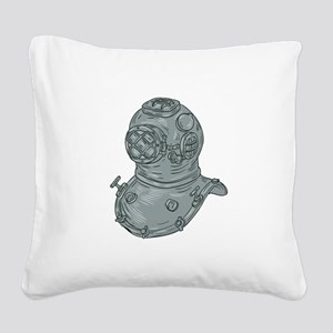 Old School Diving Helmet Drawing Square Canvas Pil