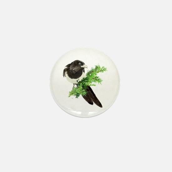 Watercolor Magpie Bird in Spruce Tree Mini Button