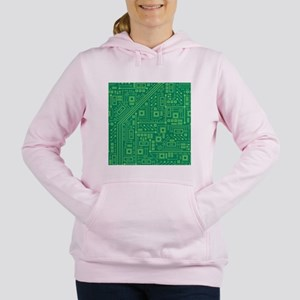 Green Circuit Board Women's Hooded Sweatshirt