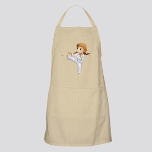 A brave girl doing karate Apron