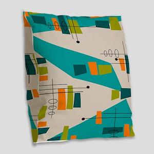 Mid-Century Modern Atomic Burlap Throw Pillow