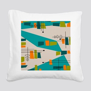 Mid-Century Modern Atomic Square Canvas Pillow