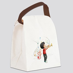 A talented young boy playing with Canvas Lunch Bag