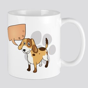 A puppy with an empty rectangular callo Mug