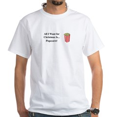 Christmas Popcorn White T-Shirt