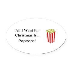 Christmas Popcorn Oval Car Magnet