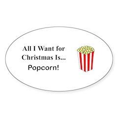 Christmas Popcorn Sticker (Oval 10 pk)