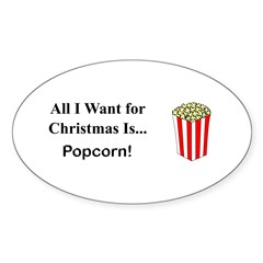 Christmas Popcorn Sticker (Oval 10 pk)