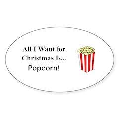 Christmas Popcorn Sticker (Oval 50 pk)