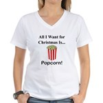 Christmas Popcorn Women's V-Neck T-Shirt