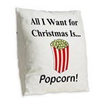 Christmas Popcorn Burlap Throw Pillow