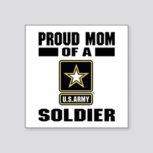 "Proud Army Mom Square Sticker 3"" x 3"""