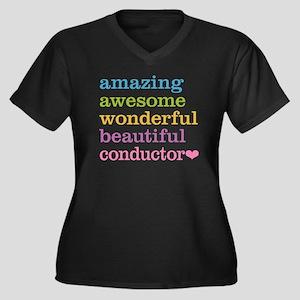 Amazing Cond Women's Plus Size V-Neck Dark T-Shirt