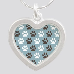 Paw Print Pattern Silver Heart Necklace