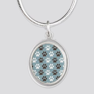 Paw Print Pattern Silver Oval Necklace